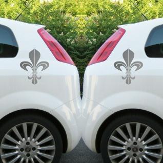 Bourbon Lilie 30cm silber Aufkleber Tattoo Auto Tür Schrank Fenster Deko Folie - Vorschau 3
