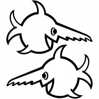 Set Aufkleber schwarz 30cm Tattoo U96 Fisch Sägezahnfisch Schwertfisch swordfish
