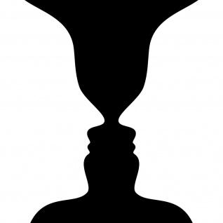 12cm schwarz Aufkleber Tattoo Kippbild optische Täuschung Illusion Vase Gesicht