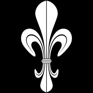 10 Aufkleber Tattoo 10cm weiß DM Lilie Fleur de Lis Zeichen Symbol Deko Folie