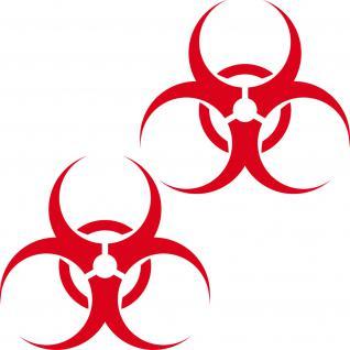 2 Aufkleber 25cm rot Bio Hazard Biohazard Symbol Zeichen Tattoo Auto Deko Folie