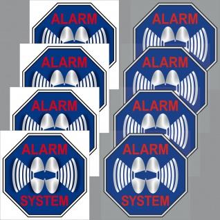 4+4 Aufkleber 5cm blau Sticker Alarm System Set Innenseite Fenster Glas Scheibe