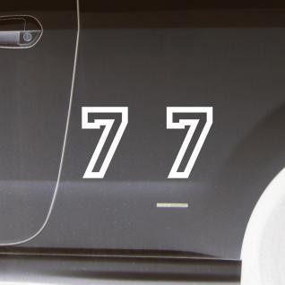 2 Stk. Aufkleber Tattoo Folie Startnummer 7 racing Nummer Zahl Ziffer 15cm weiß