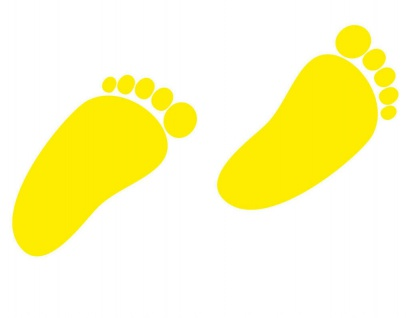 1 Paar 2 Füße 8cm gelb Baby Kinder Fuß Abdruck Aufkleber Tattoo Möbel Deko Folie - Vorschau 3