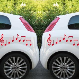 2 Sets Violinschlüssel 20cm + Noten rot Auto Fenster Aufkleber Tattoo Folie