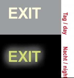 4 Aufkleber EXIT 8cm Ausgang Notausgang leuchtet im Dunkeln bei Stromausfall