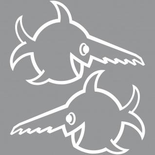 2 Aufkleber Tattoo Auto Folie 30cm weiß U96 Fisch Sägezahnfisch Schwertfisch