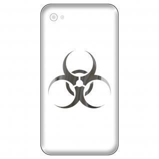 4 Aufkleber Tattoo 5cm chrom Biohazard Symbol Handy smartphone mobile Deko Folie