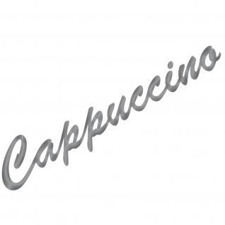 Cappuccino 37cm silber Schriftzug Wandtattoo Aufkleber Tattoo Deko Folie Küche
