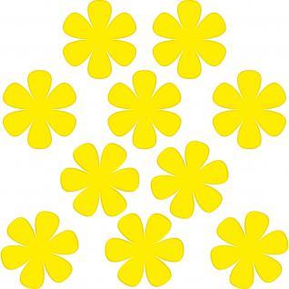 10 Aufkleber Tattoo 8cm gelb Blumen Blümchen Deko Folie Kinder Zimmer Schrank