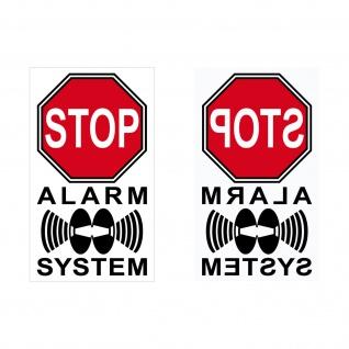 20+20 Aufkleber 4cm rot Alarm System gespiegelt für Innenseite Fenster Tür Glas