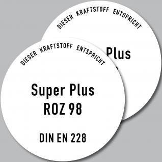 2 Aufkleber 10cm Super Plus oktan ROZ 98 BENZIN Tanken Deckel Sticker Hinweis