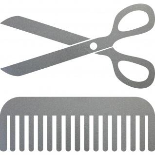 Aufkleber Schere Kamm 30cm silber Deko Folie Auto Fenster Friseur Haarstudio