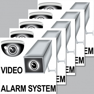 5 Aufkleber 7cm Video Kamera Alarm System Sticker Hinweis Warnung Überwachung