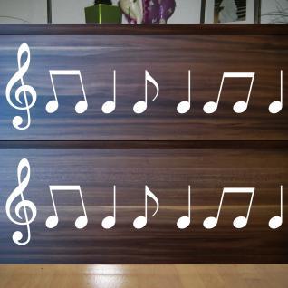 2 Sets Violinschlüssel 20cm + Noten weiß Auto Fenster Tür Aufkleber Tattoo Folie