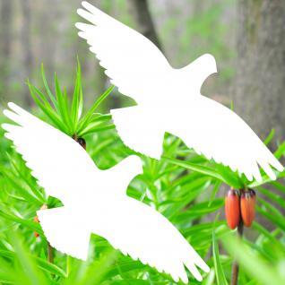 2 Aufkleber 35cm weiß Vogel Habicht Warnvögel Fenster Schutzfolie Deko Folie
