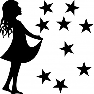 Sterntaler Set L schwarz Aufkleber Tattoo Sternfänger Mädchen Christkind Folie