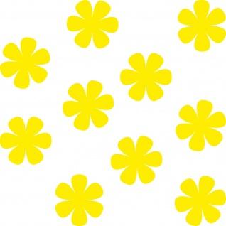 10 Aufkleber 4cm gelb Tattoo Blumen Blümchen Blüten Deko Folie Auto Fenster Tür