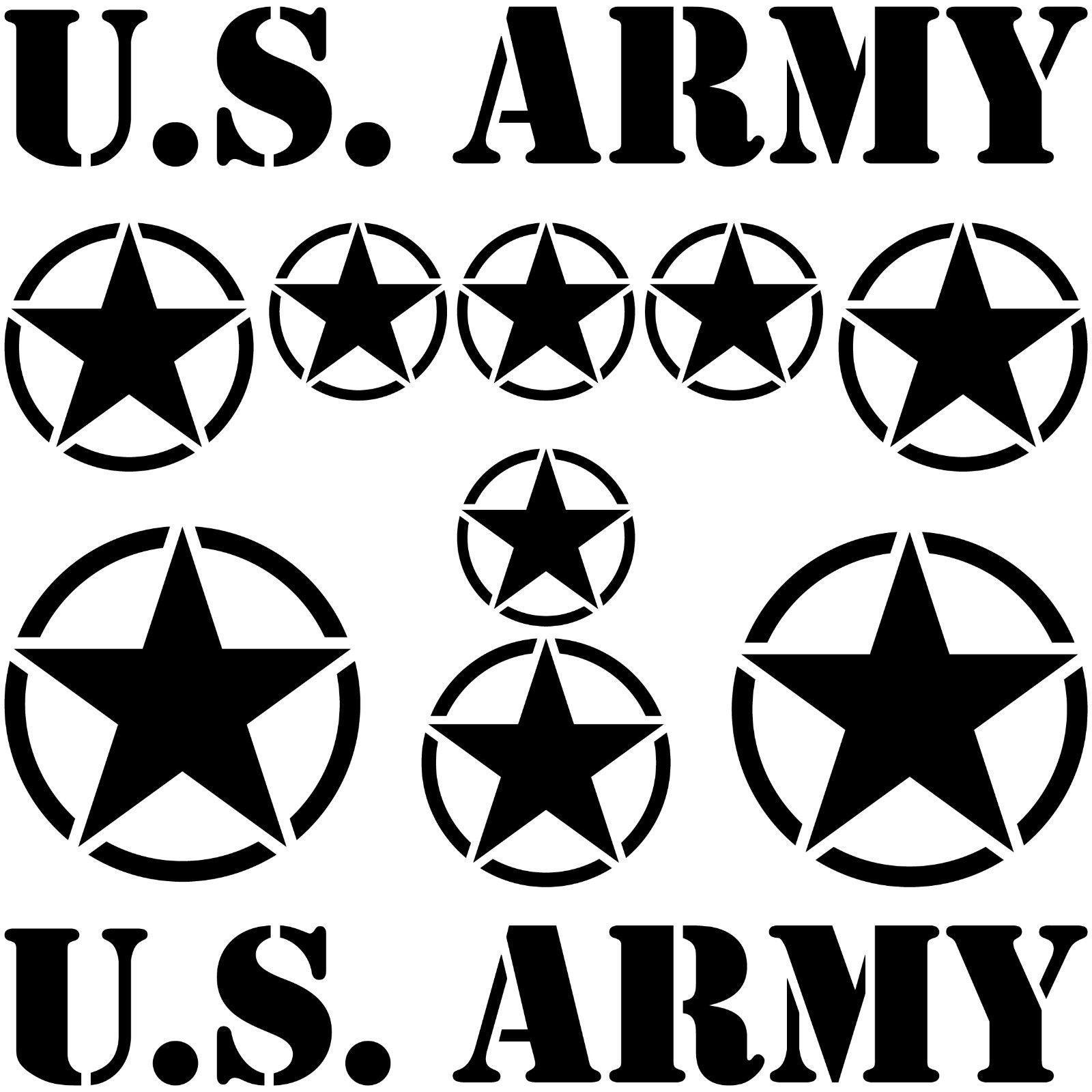 Usa Sterne Schrift Schwarz Us Army Navy Auto Jeep Aufkleber Tattoo Deko Folie