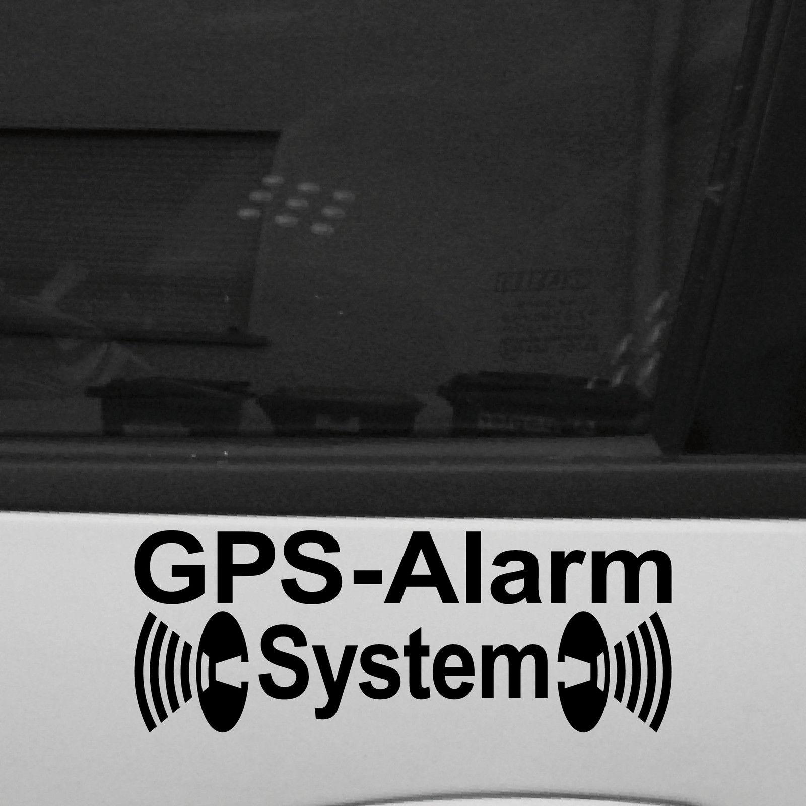 2 Aufkleber Tattoo Schwarz Gps Alarm System Deko Warnung Folie Für Außenseite