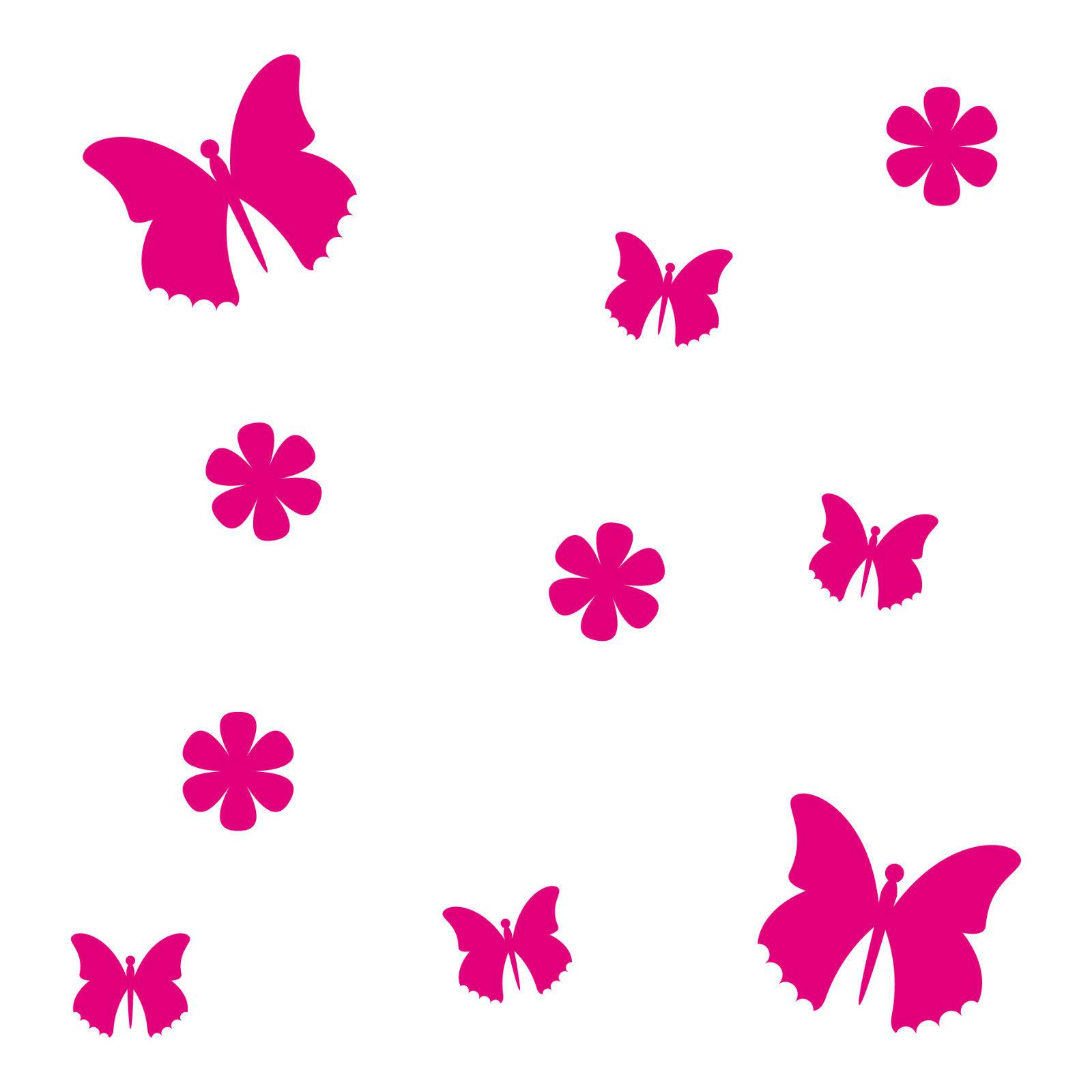 10 aufkleber tattoo pink schmetterlinge blumen auto m bel fenster deko folie kaufen bei green it. Black Bedroom Furniture Sets. Home Design Ideas