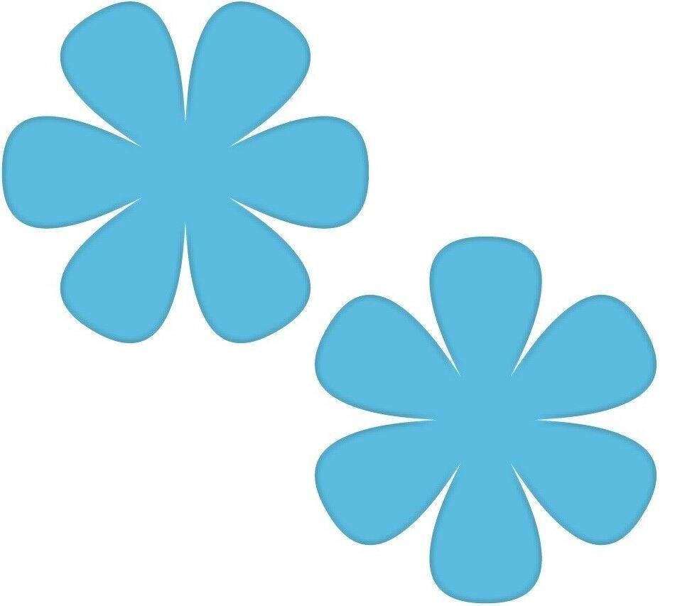 2 Aufkleber 8cm Blau Blume Blümchen Wand Tür Kinder Möbel Auto Tattoo Deko Folie