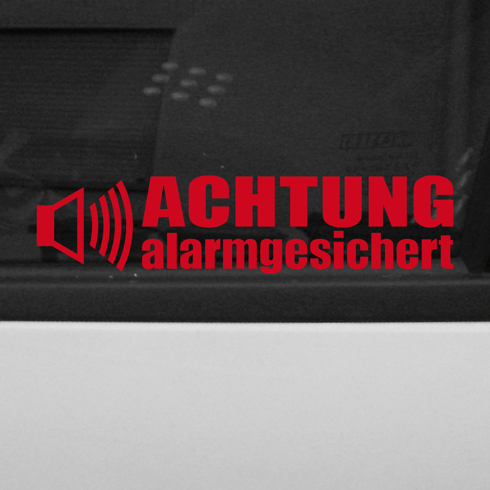 5 st ck achtung alarmgesichert aufkleber tattoo folie gespiegelt f r innenseite kaufen bei. Black Bedroom Furniture Sets. Home Design Ideas