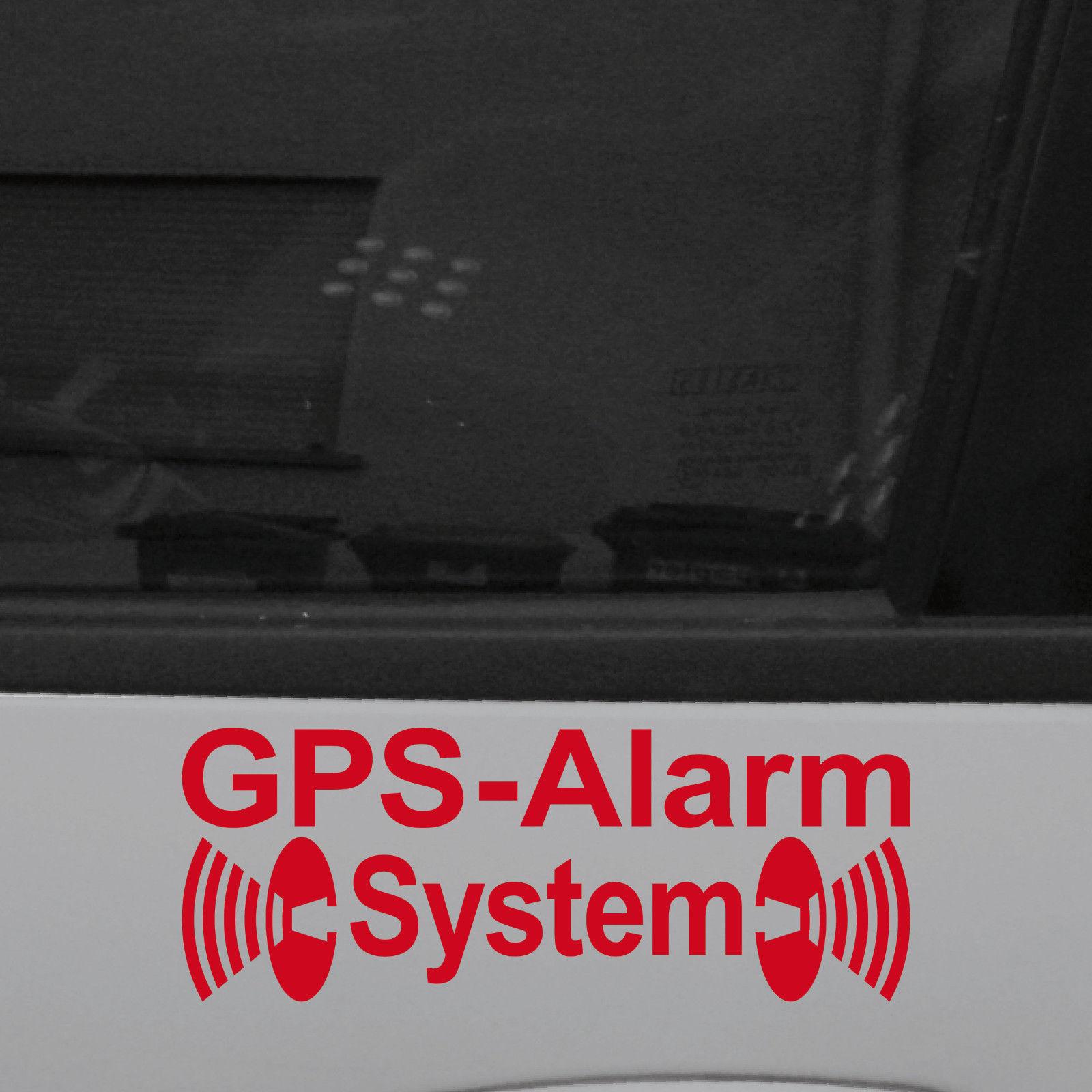 2 Aufkleber Tattoo GPS Alarm System rot für Außenseite Fenster Tür ...