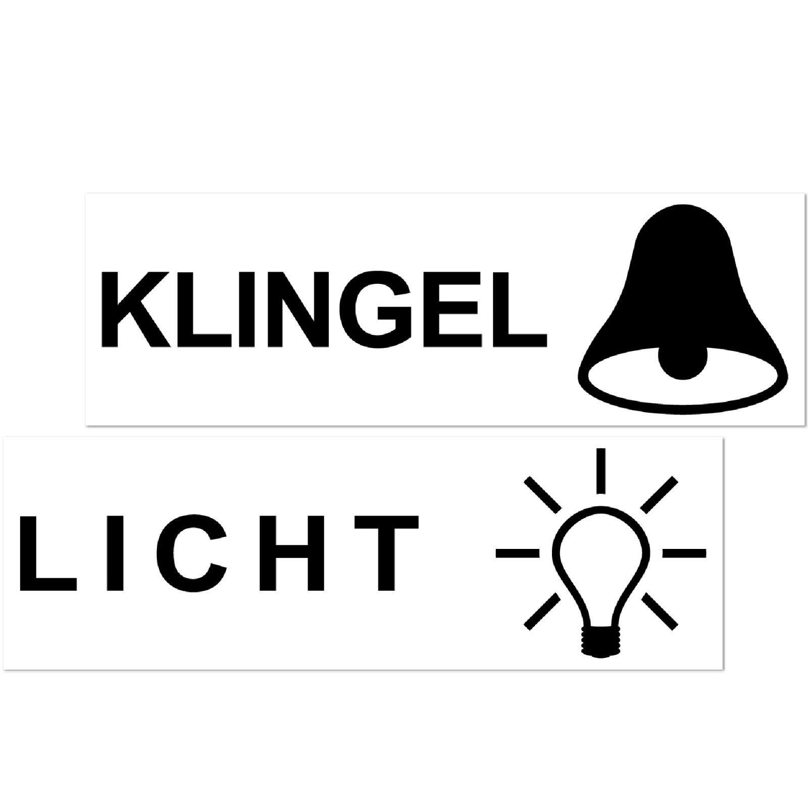 8 Aufkleber 6 5cm Hinweis Licht Klingel Symbole Briefkasten Tür Taster Schalter