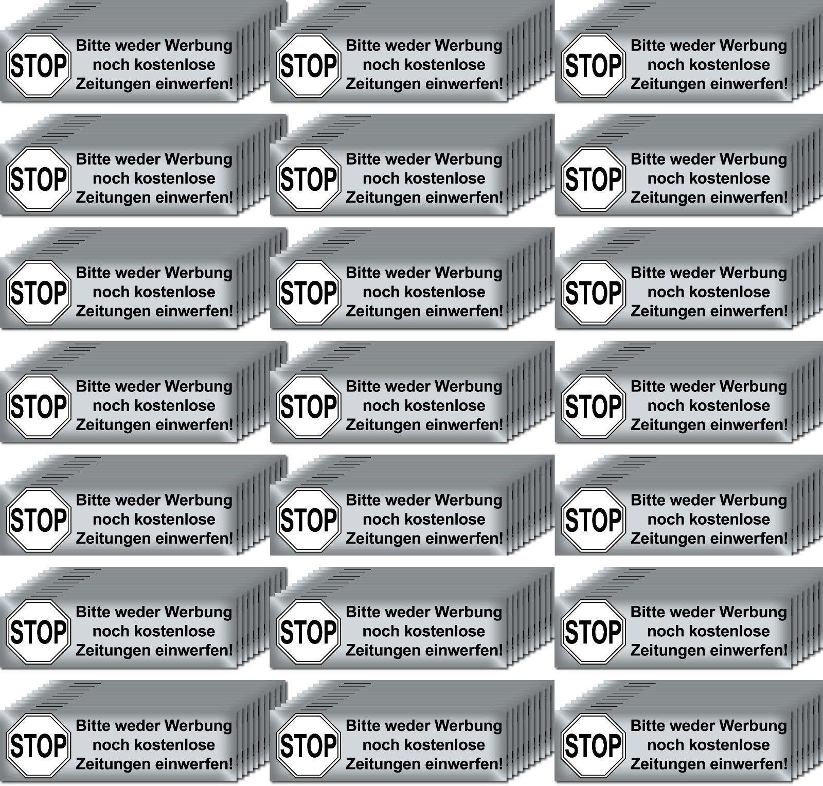 200 aufkleber briefkasten stop bitte keine werbung reklame zeitungen einwerfen kaufen bei green it. Black Bedroom Furniture Sets. Home Design Ideas