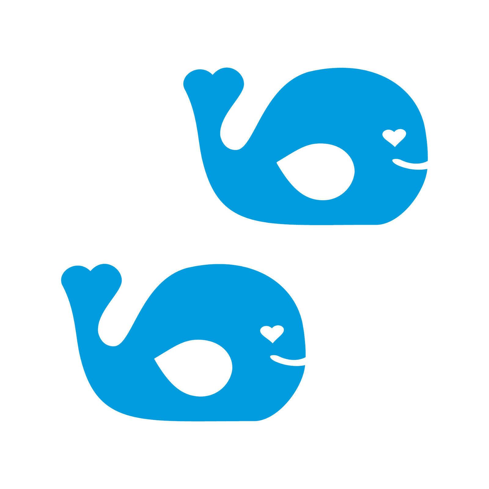 2 Aufkleber Fisch 10cm Blau Wal Tattoo Auto Kinder Zimmer Möbel Tür Deko Folie