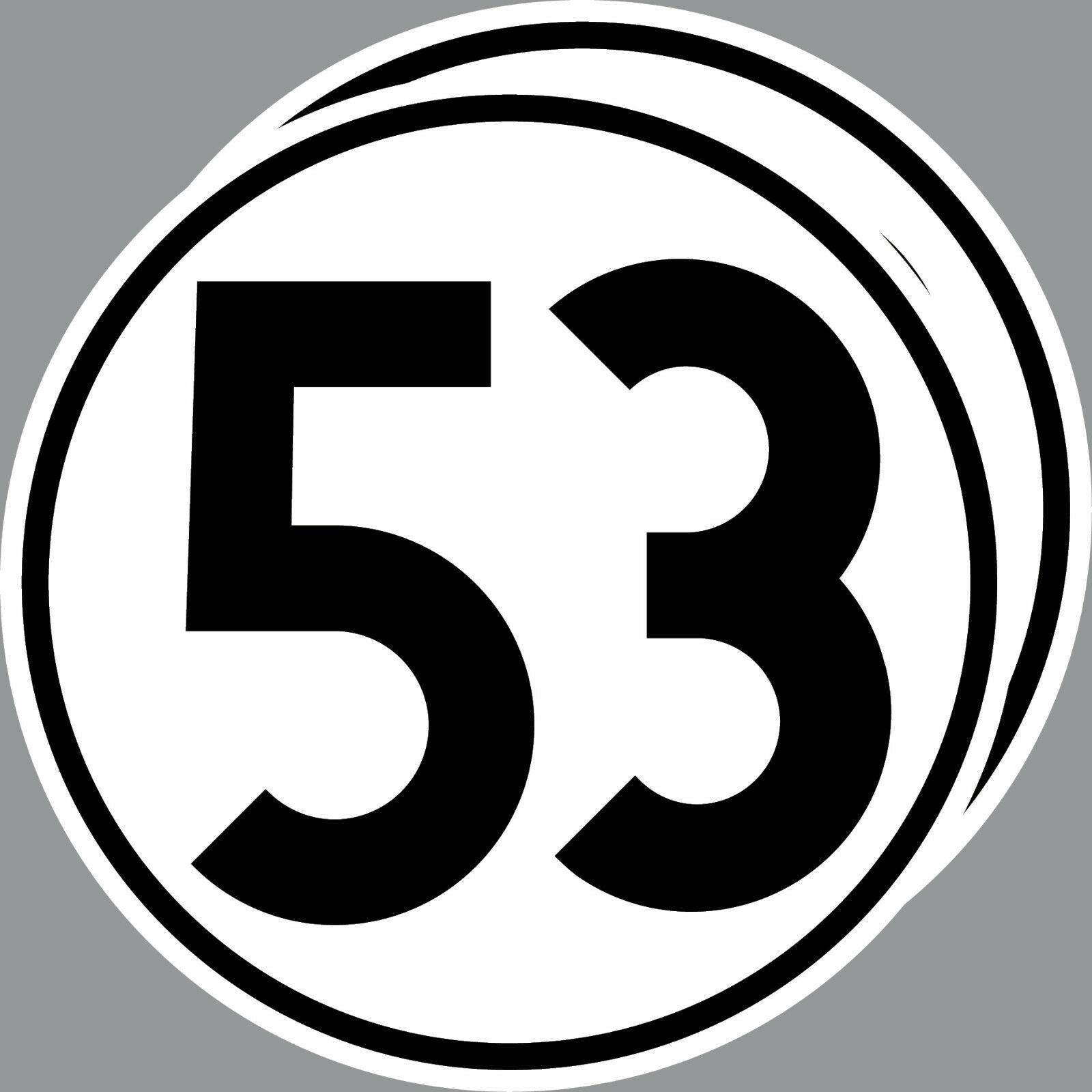 2 Aufkleber 20cm Herbie Nr 53 Start Nummer Ziffer Zahl Racing Auto Motor Sport