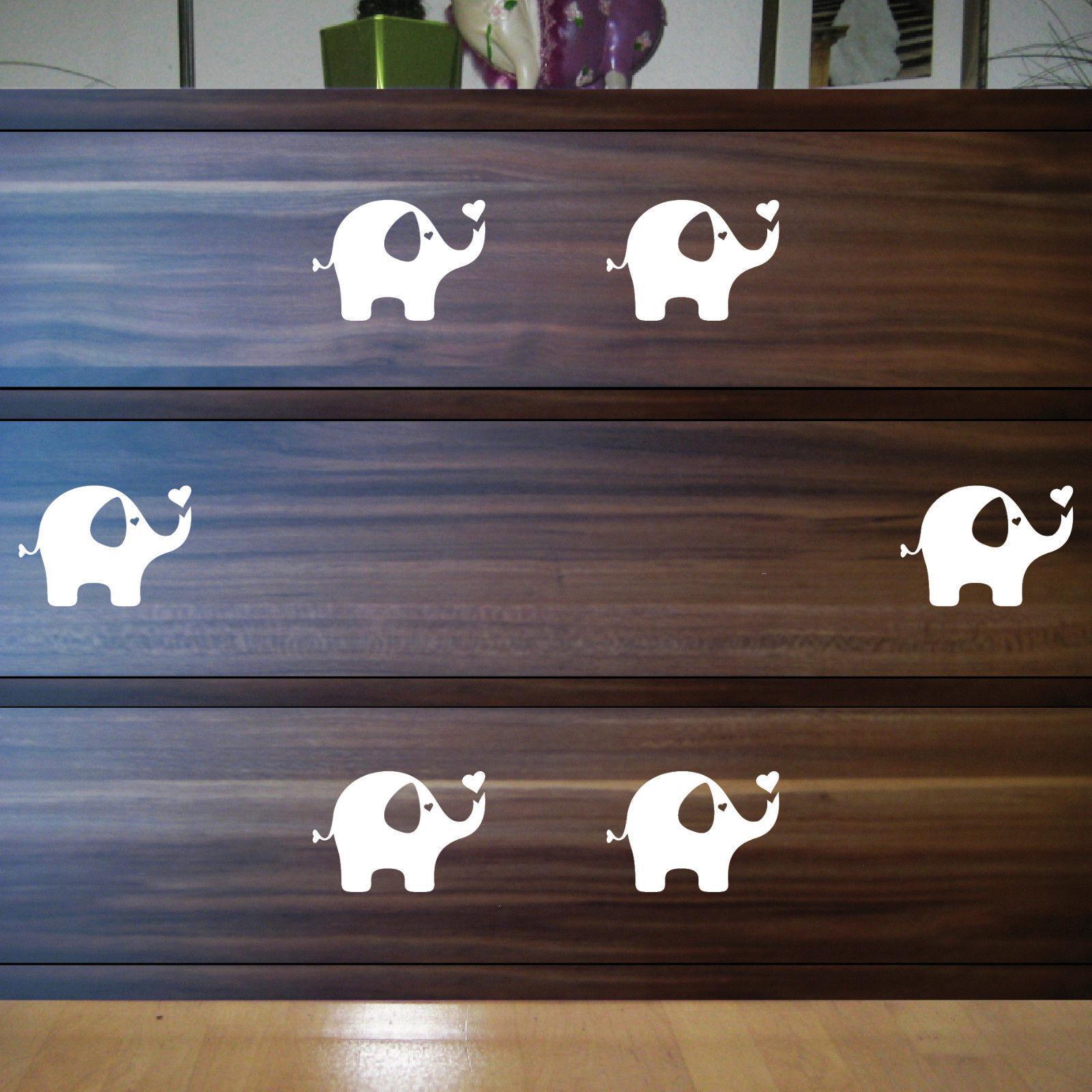 6 aufkleber tattoo elefant wei 10cm dumbo deko folie kinderzimmer m bel fenster kaufen bei. Black Bedroom Furniture Sets. Home Design Ideas