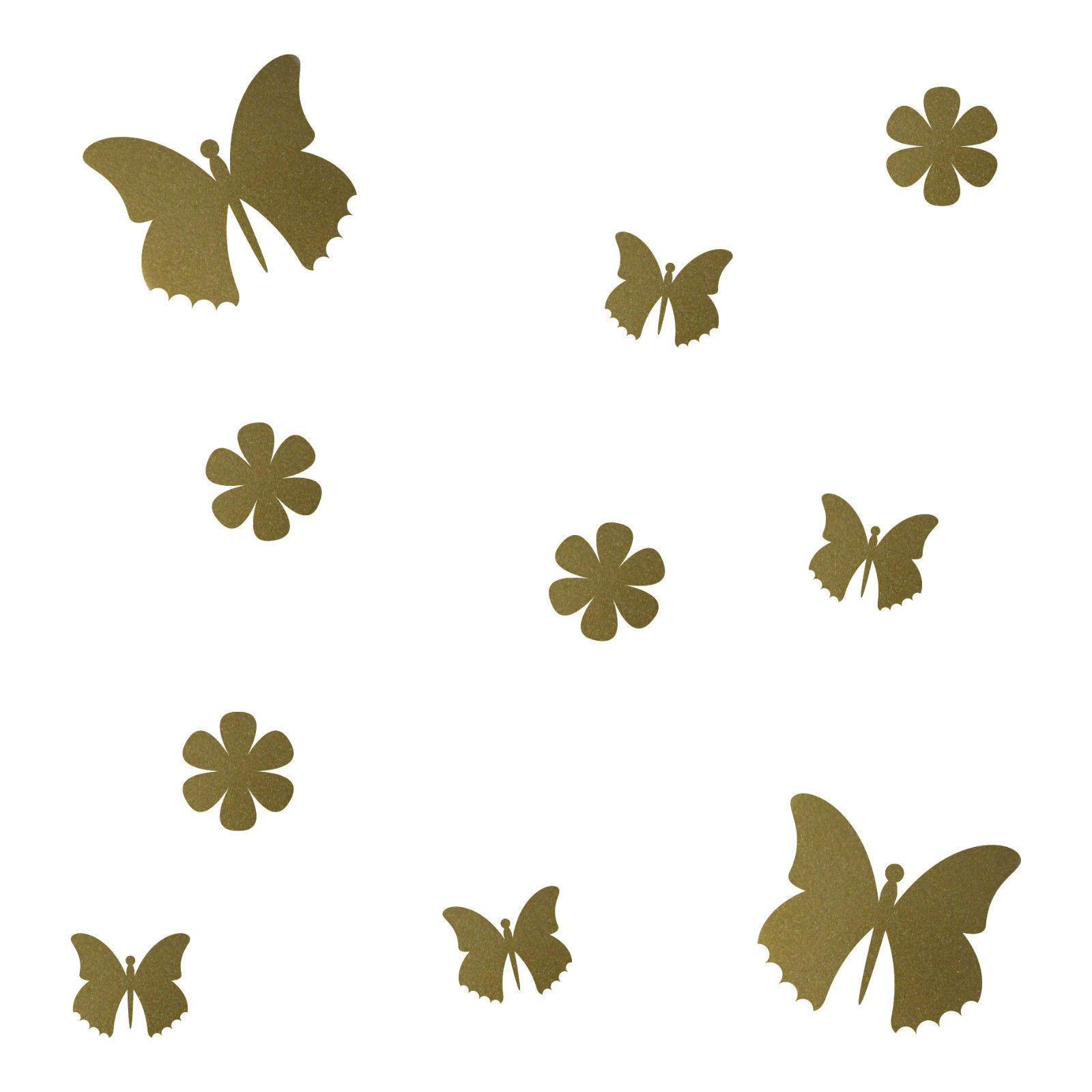 10 aufkleber tattoo gold schmetterlinge blumen auto m bel fenster deko folie kaufen bei green it. Black Bedroom Furniture Sets. Home Design Ideas