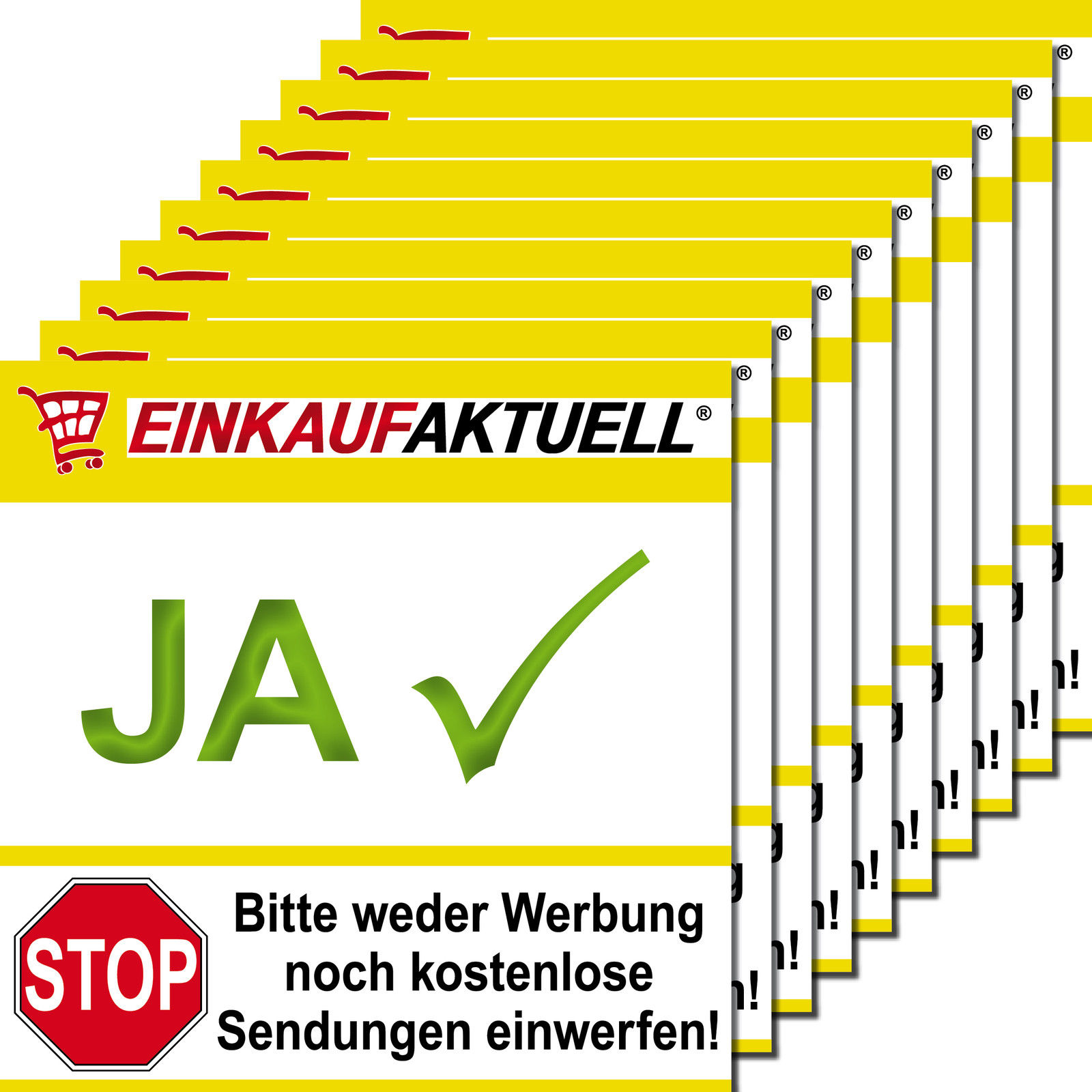 10 Briefkasten Aufkleber 5cm Keine Werbung Reklame Zeitung Nur Ja Einkaufaktuell