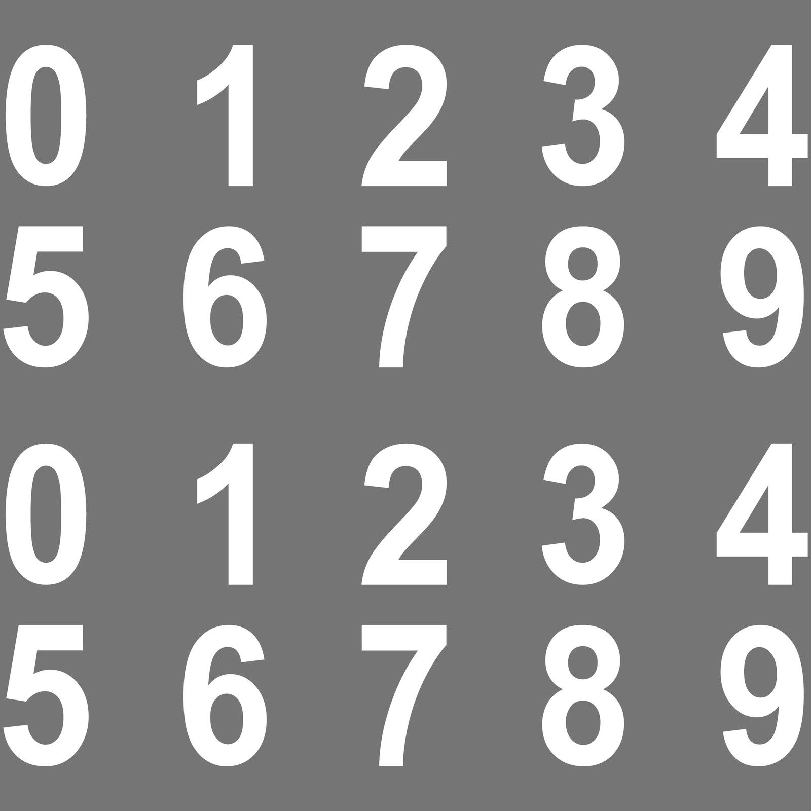 100 Stuck Ziffern Aufkleber 3cm Weiss Zahlen Zimmer Nummern Tattoo