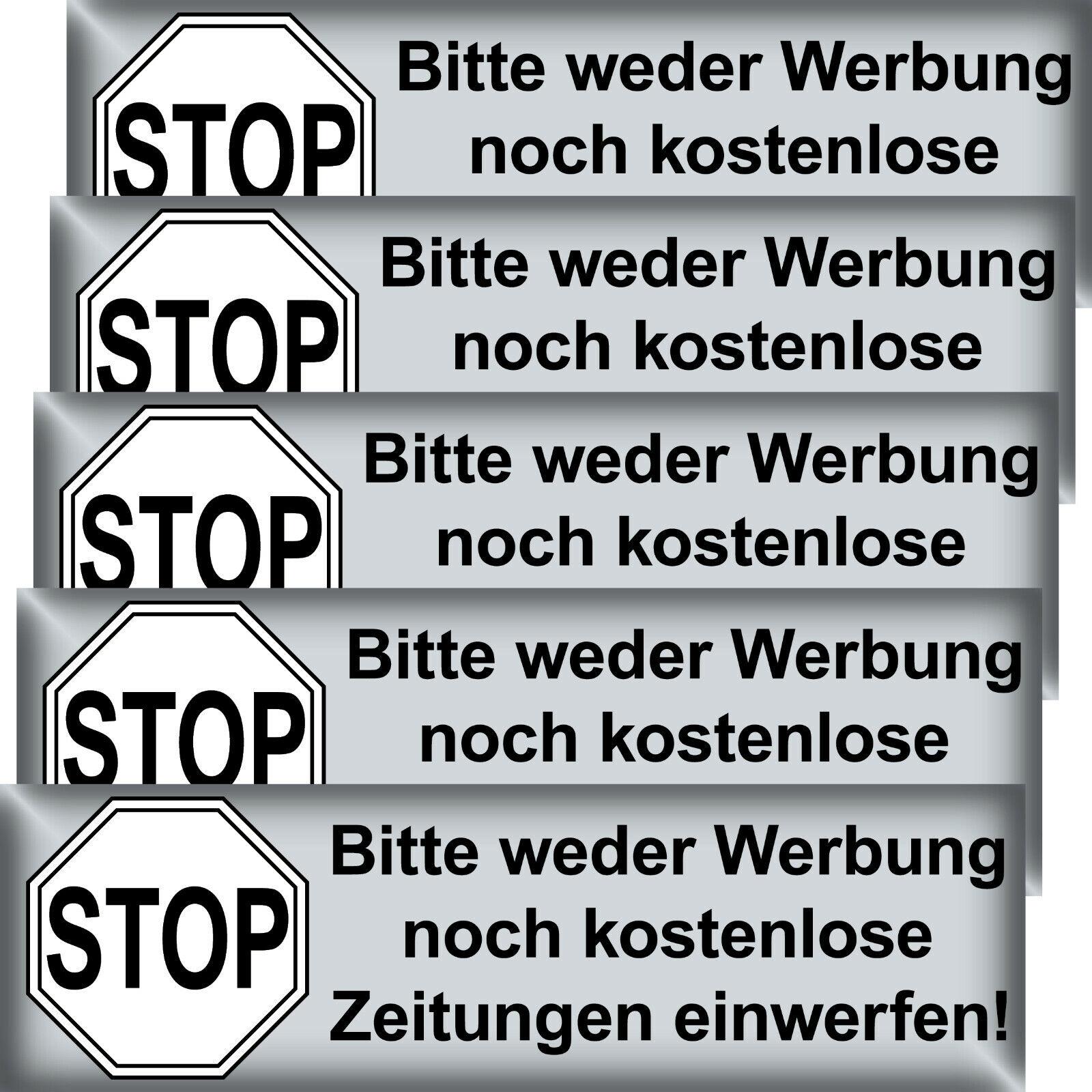 5 Aufkleber Stop Bitte Keine Werbung Kostenlose Zeitungen Einwerfen Briefkasten