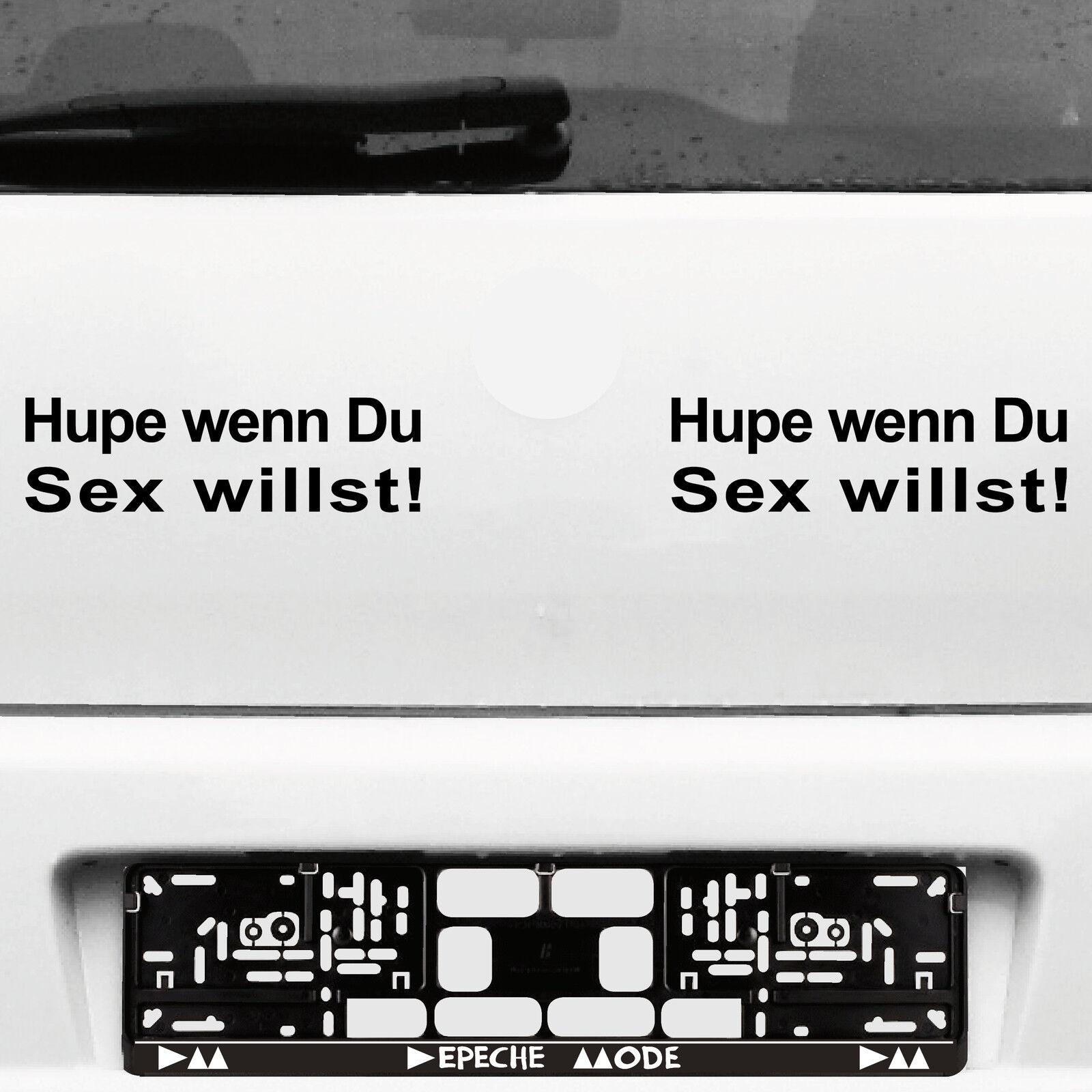 2 Stück Hupe Wenn Du Sex Willst 22cm Schwarz Auto Aufkleber Tattoo Deko Folie