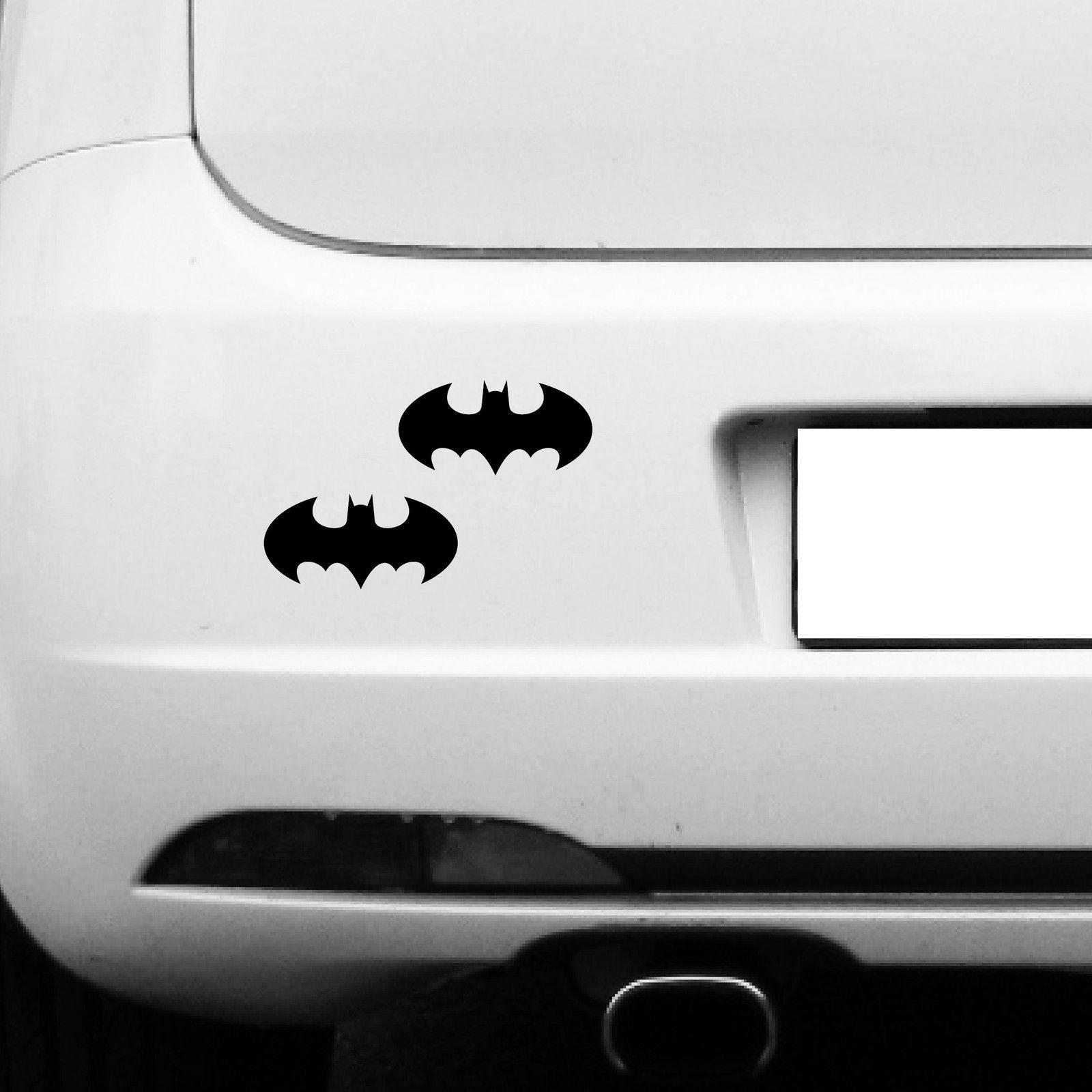 2 Aufkleber Tattoo 10cm Schwarz Batman Rund Auto Tür Fenster Spiegel Deko Folie