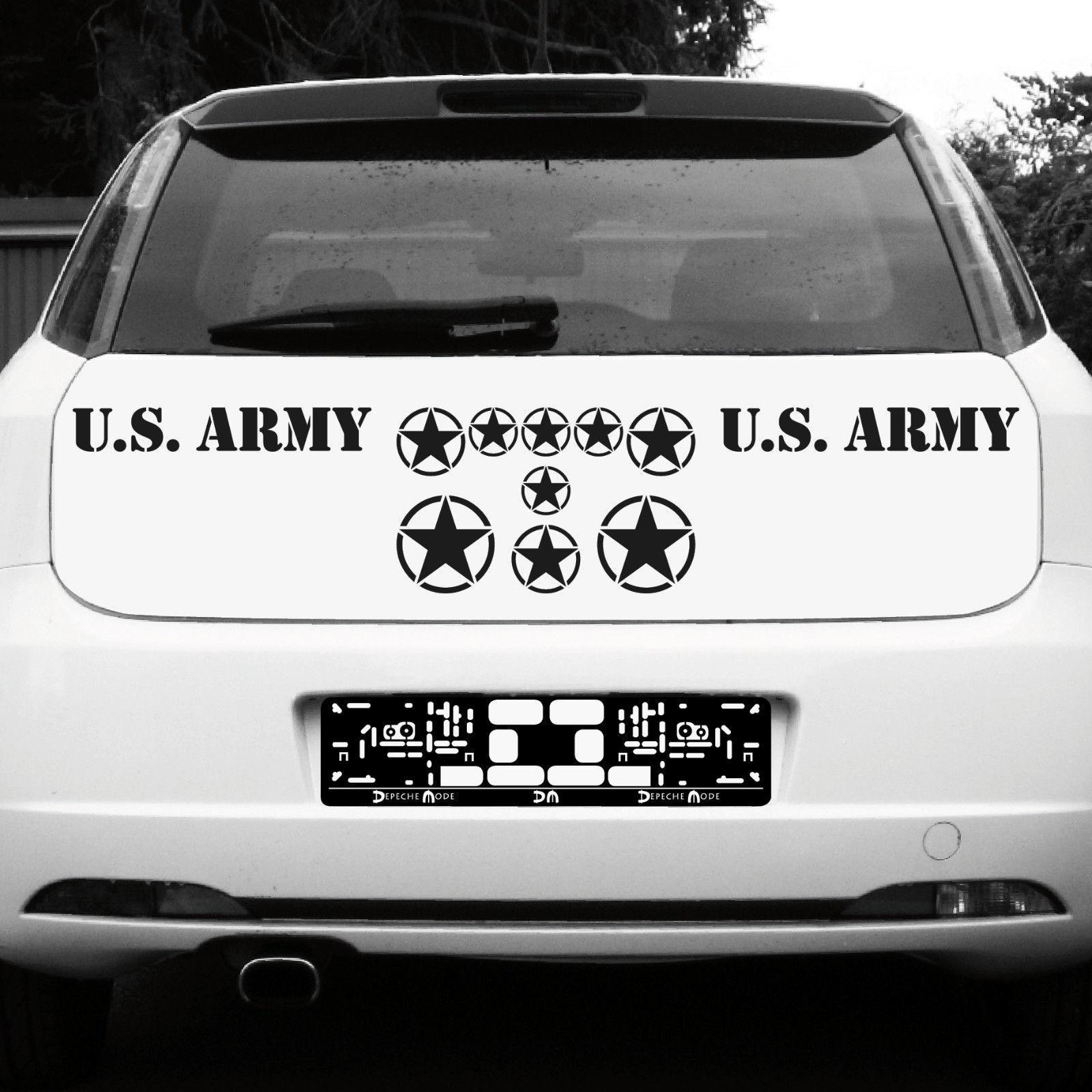 schwarz matt usa sterne schrift us army navy auto. Black Bedroom Furniture Sets. Home Design Ideas