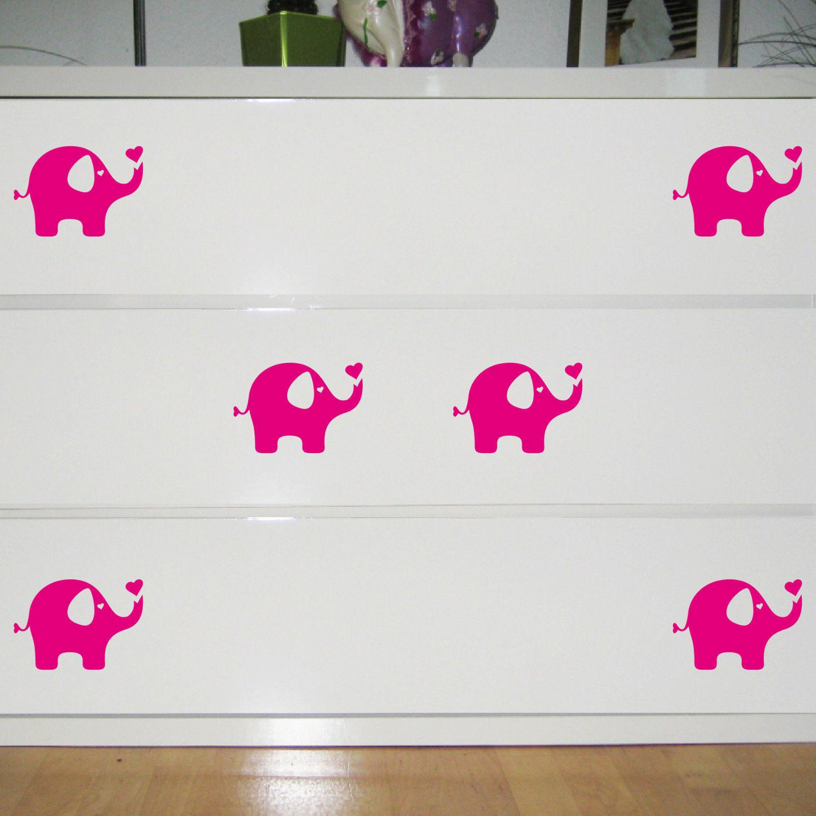 6 Aufkleber Elefant pink 10cm Tattoo Deko Folie Kinderzimmer Möbel ...