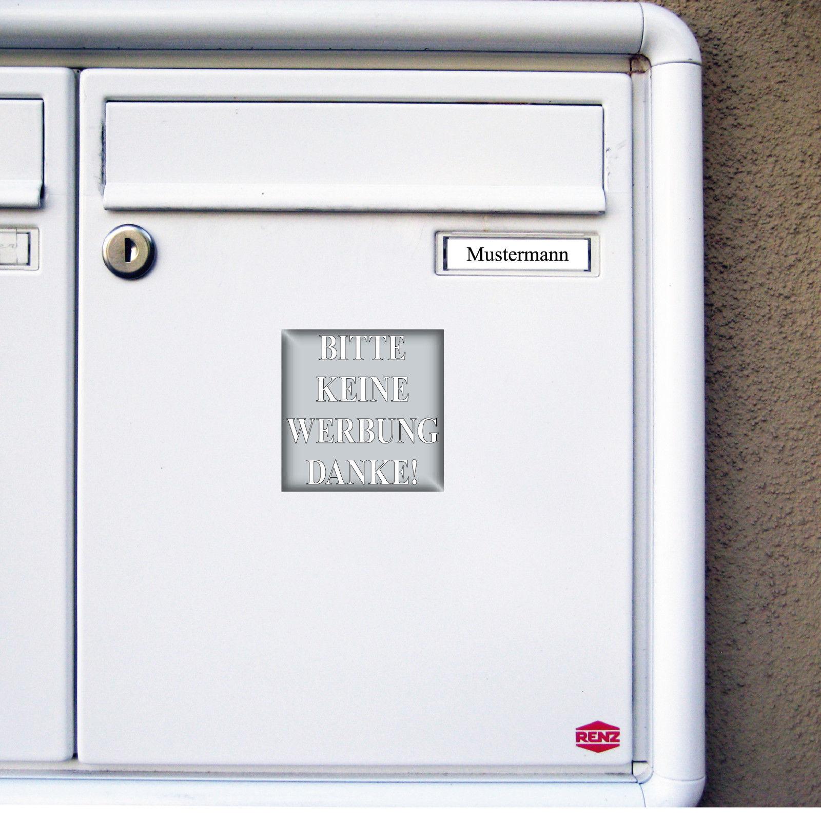 20 Aufkleber 5cm Silber Sticker Bitte Keine Werbung Danke Einwerfen Briefkasten