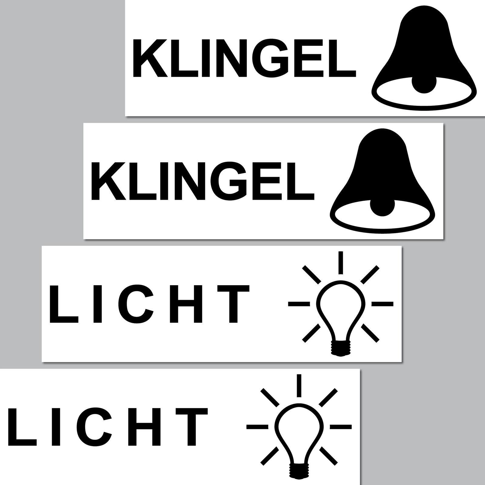4 Aufkleber Licht Klingel Symbole Sticker Briefkasten Schalter Taster Haustür