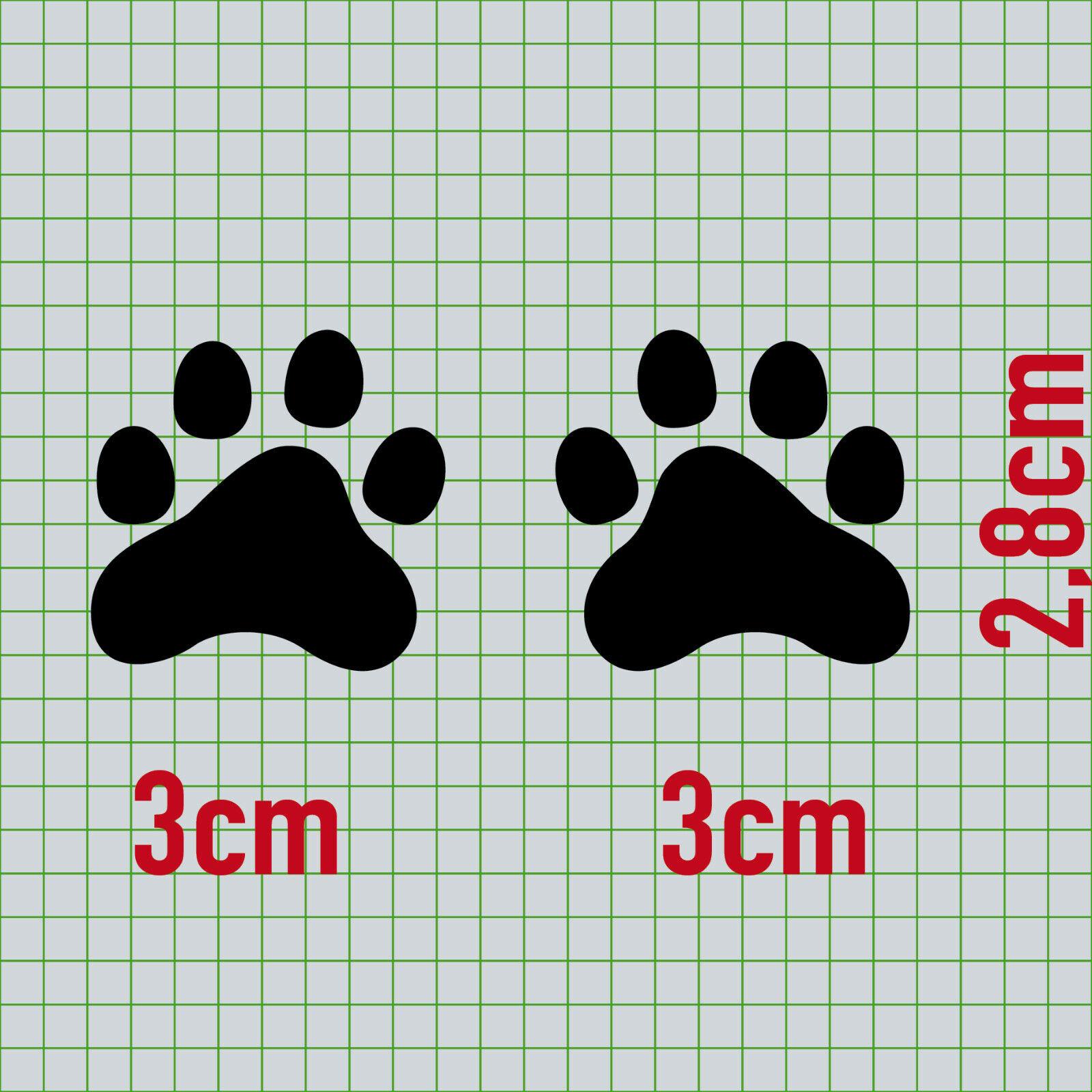 10 Pfötchen Schwarz Pfote 3cm Hund Katze Spur Tatzen Auto Aufkleber Deko Folie