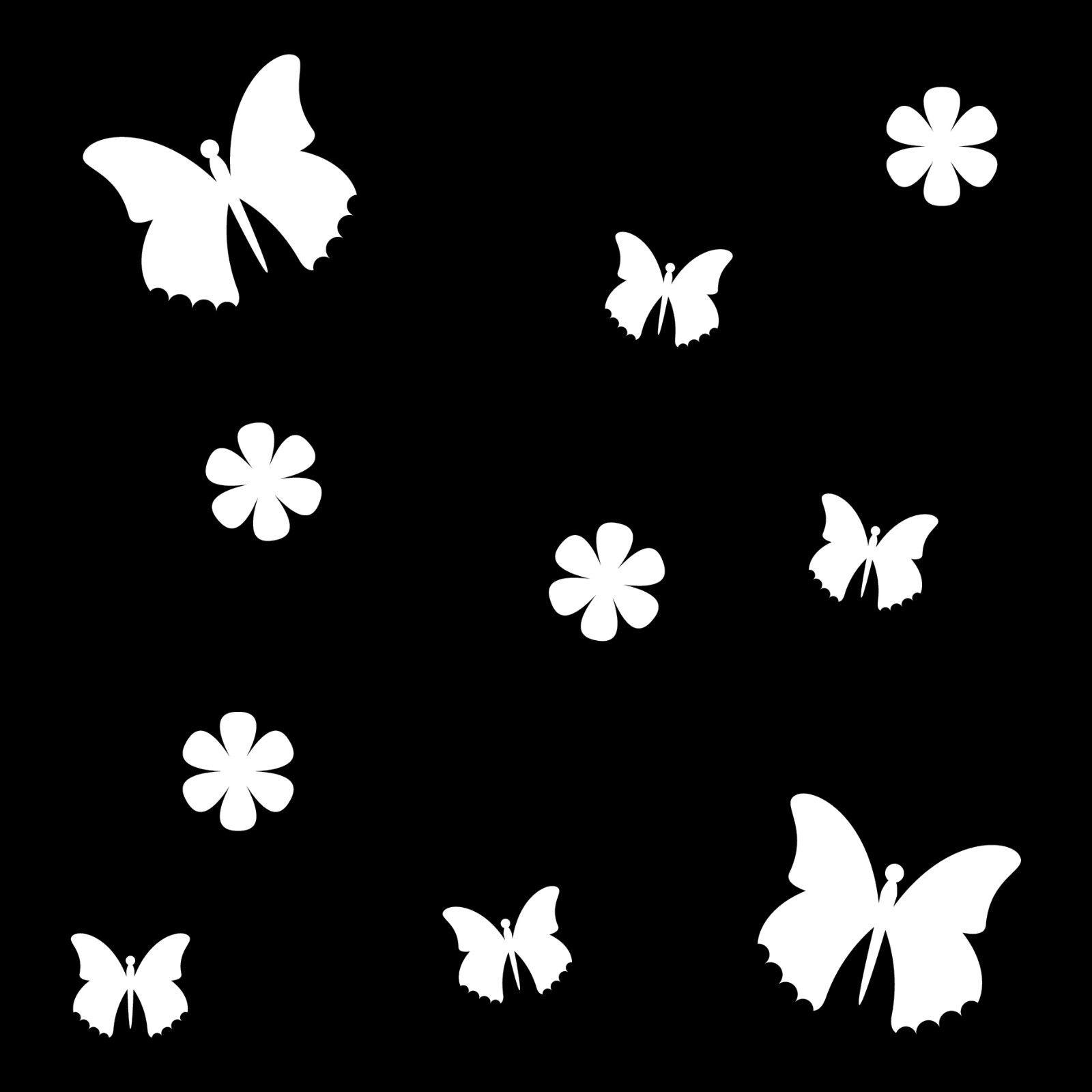 10 Aufkleber Tattoo Weiß Schmetterlinge Blumen Auto Möbel Fenster Deko Folie
