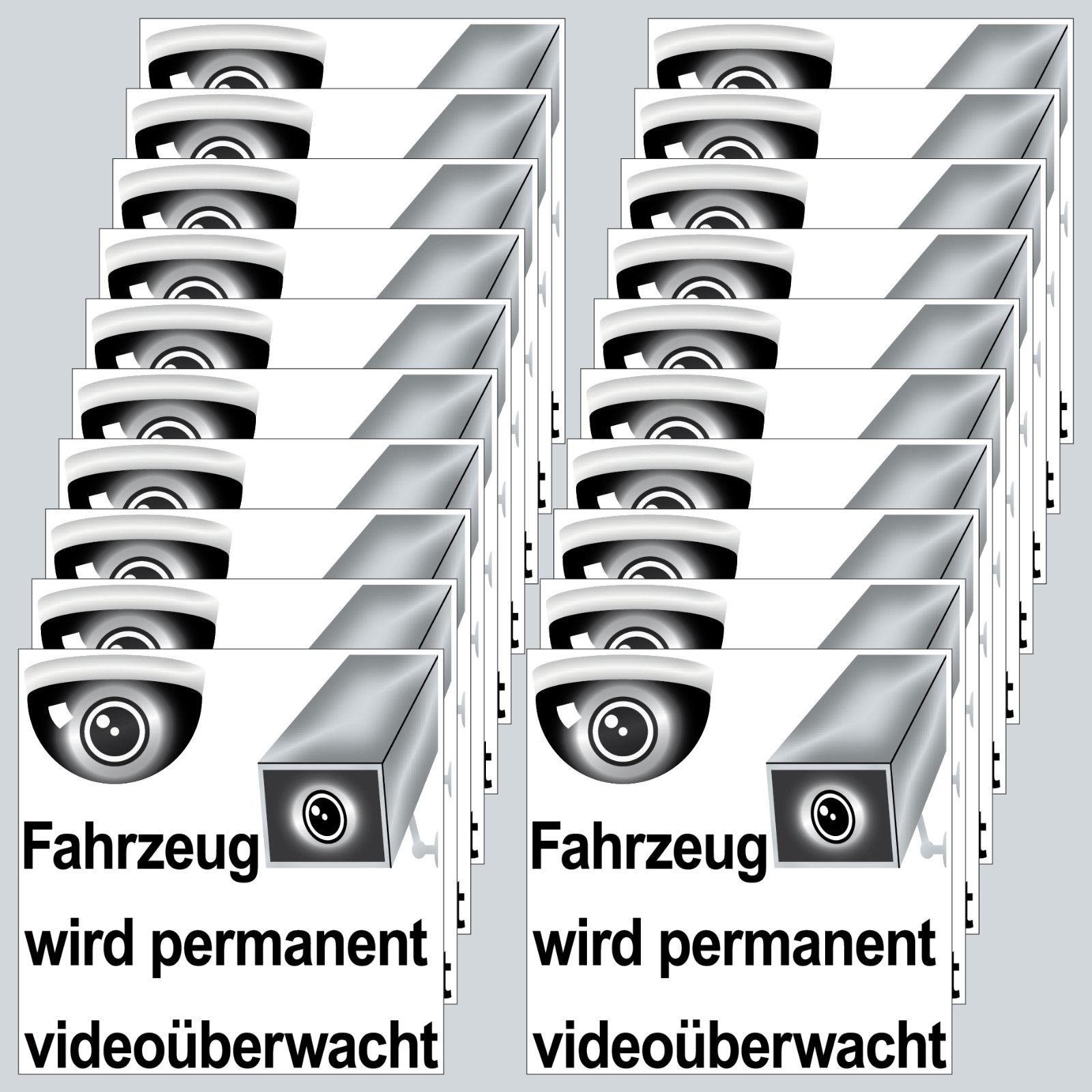 Aufkleber 5cm Fahrzeug Wird Videoüberwacht Für Außenseite Taxi Wohnwagen Auto