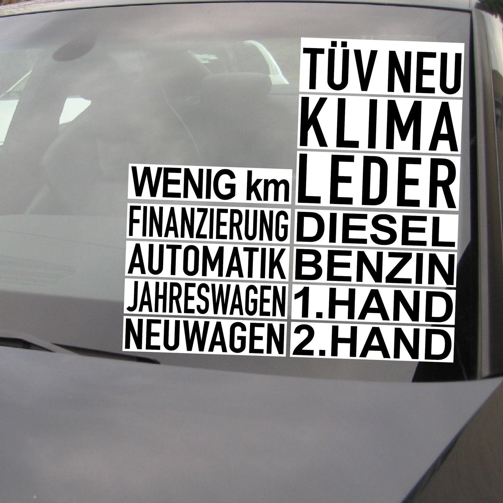 100 Aufkleber Auto Verkauf Leder Klima Tuv Automatik Diesel Benzin