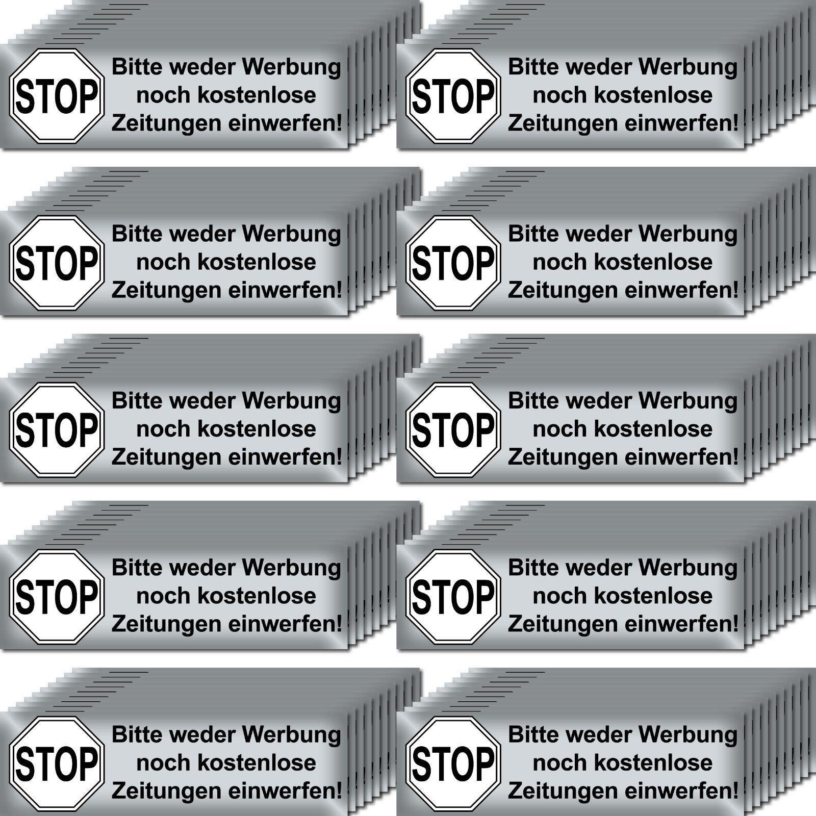 100 Aufkleber Stop Bitte Keine Werbung Reklame Zeitung Einwerfen Briefkasten