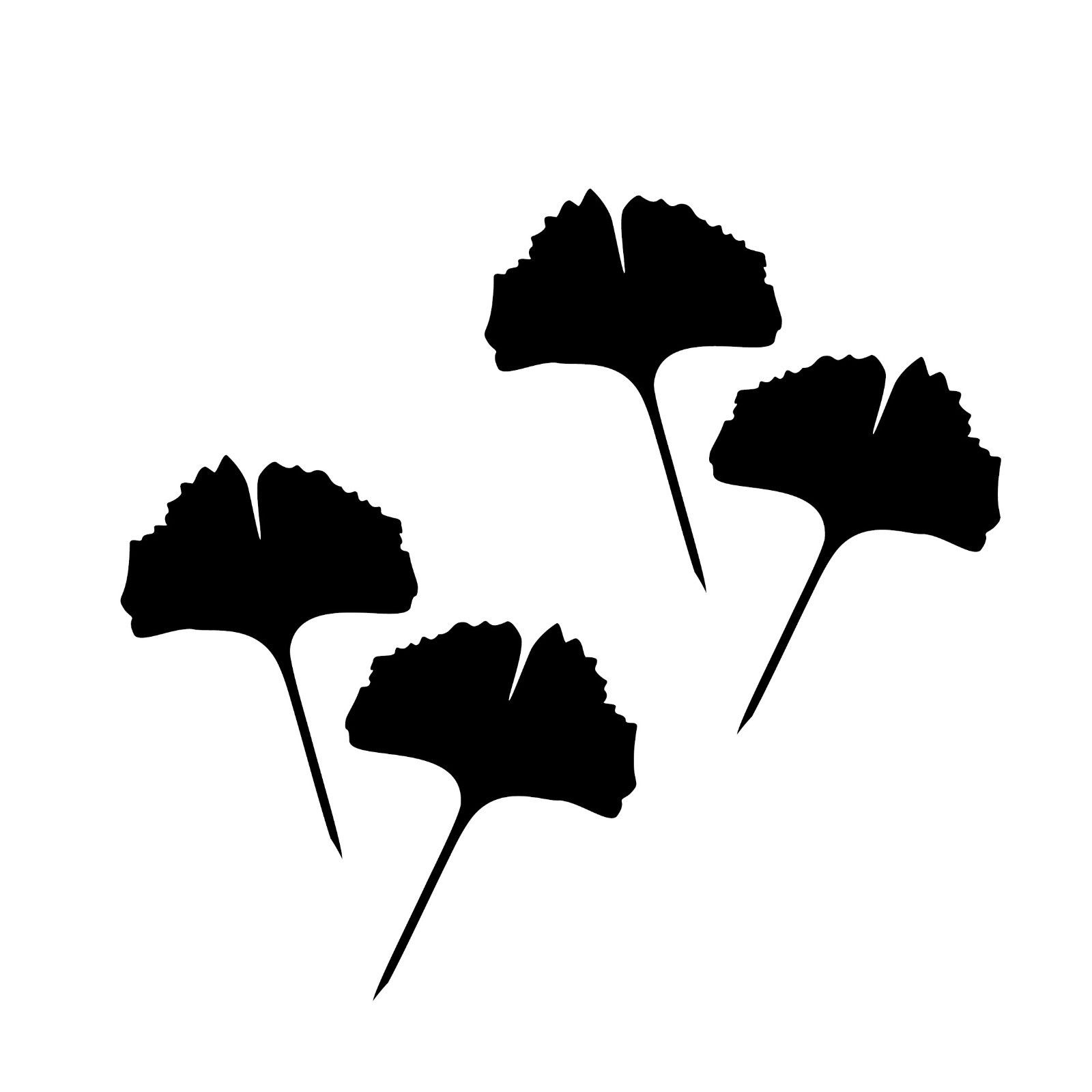 1 Paar 2 Blätter 12cm schwarz voll Ginkgo Blatt Aufkleber Tattoo Ginko Gingko