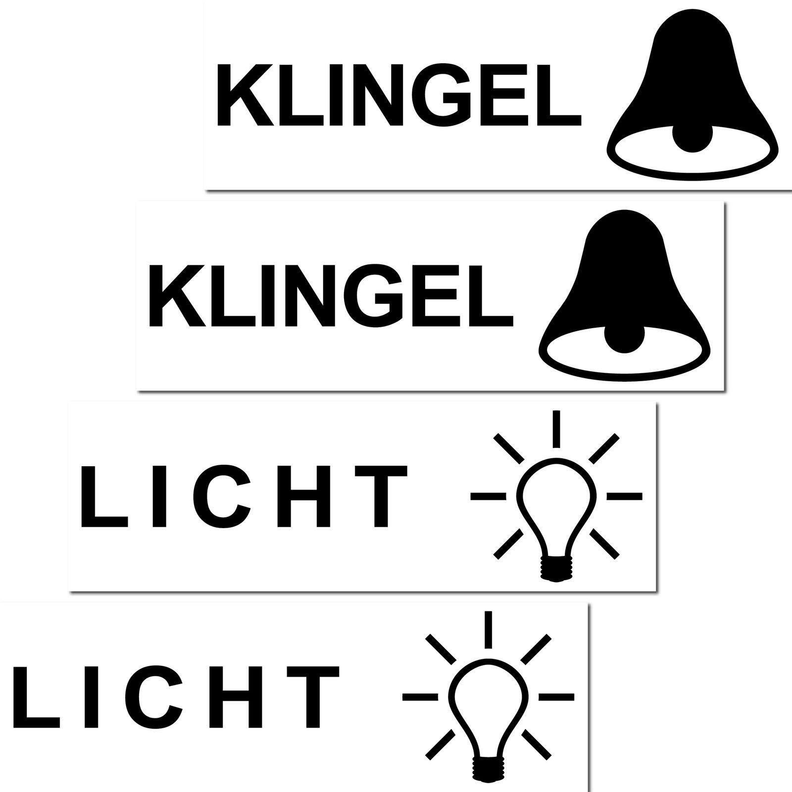 4 Aufkleber Licht Klingel Symbole Sticker Briefkasten Schalter ...
